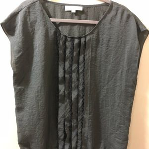 Ann Taylor Loft charcoal blouse with lace